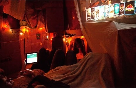 Cardboard Fort for adults - Epic cardboard fort with movie room