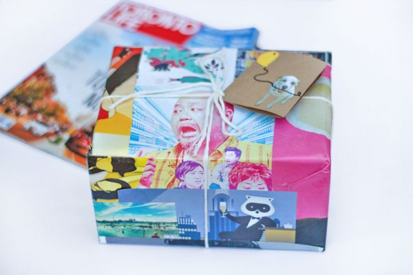 Use magazine cutouts as cheap gift wrapping