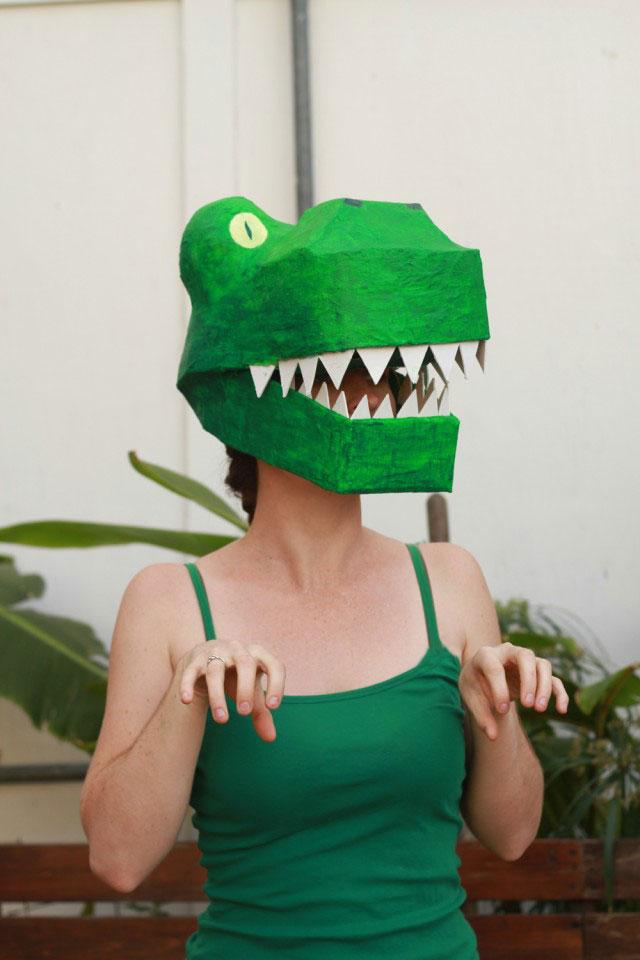 Paper Mache Dinosaur Mask DIY: T-rex costume