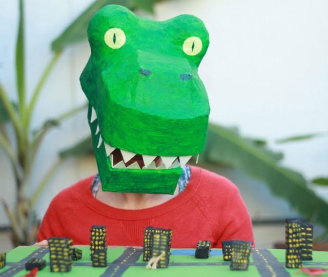 Paper Mache Dinosaur Mask DIY - T-rex costume tutorial - paper mache t rex