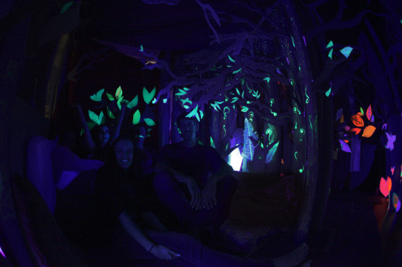 glow in the dark cardboard fort