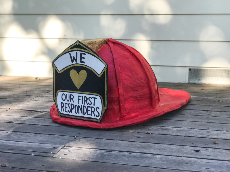 Huge Paper Mache Firefighters helmet | DIY for a giant fireman hat